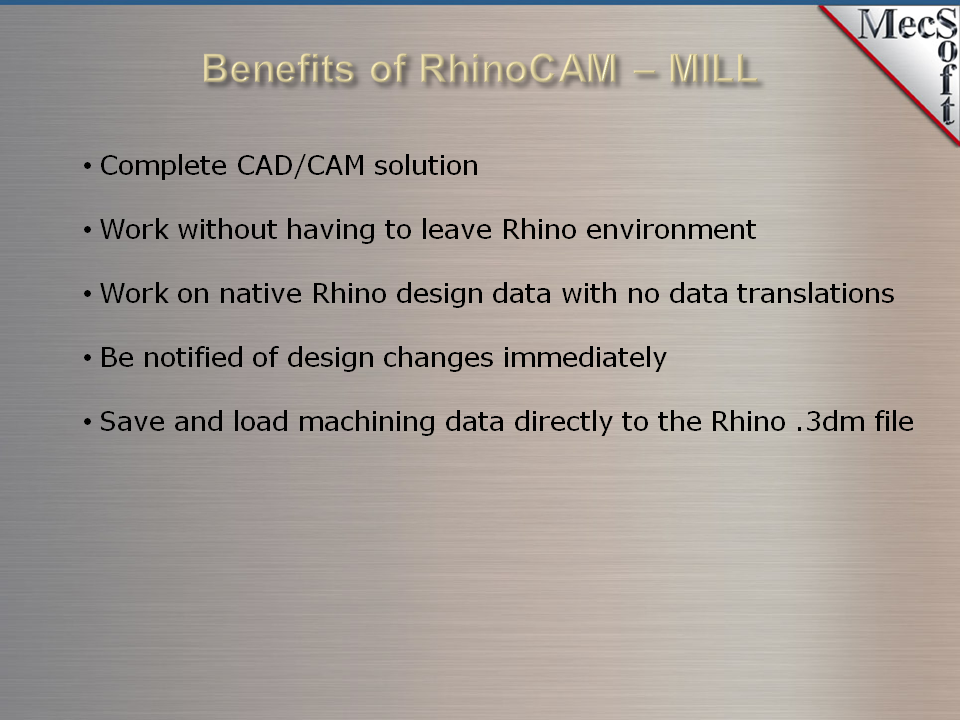 RhinoCAM-MILL Milling CNC Software | MecSoft Corporation