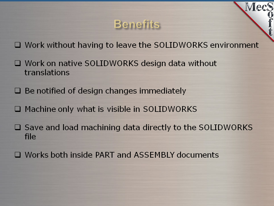VisualCAM-MILL 2019 for SOLIDWORKS | MecSoft Corporation