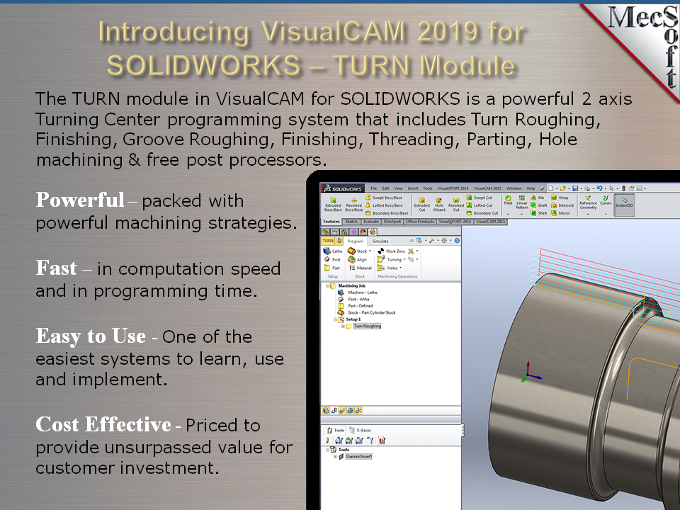 VisualCAM-TURN 2019 for SOLIDWORKS | MecSoft Corporation