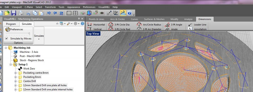 This is a screenshot of VisualMILL computer aided manufacturing software as the tool paths for this wind mill are being programmed.