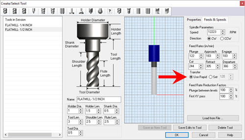Machining time is computed by taking into account the total travel distance of the tool and the different feed rates used during the tool motions.